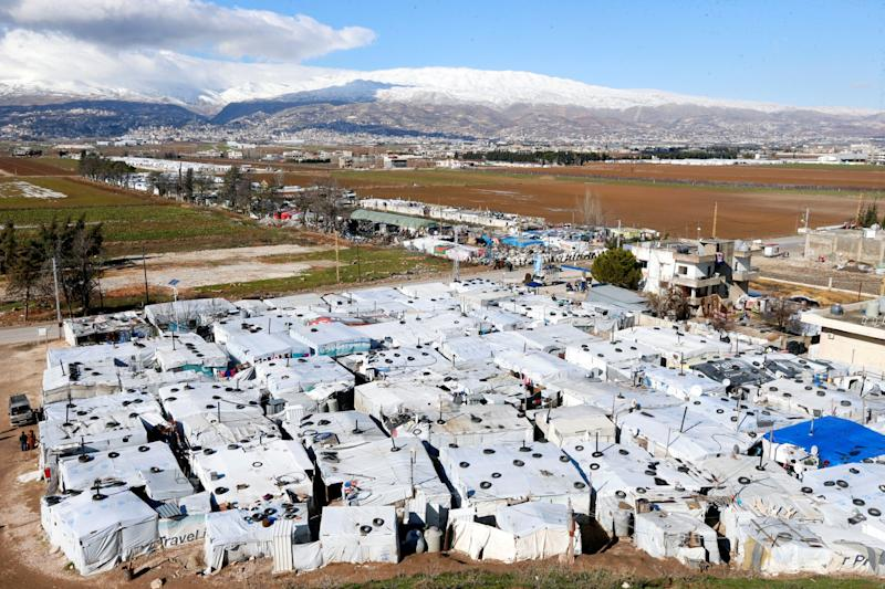 A general view of tents at a camp in Bar Elias, in the Bekaa Valley, Lebanon (file photo) (REUTERS)