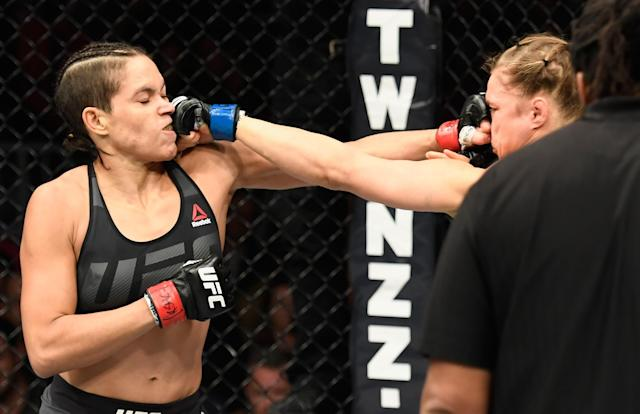 Amanda Nunes had no trouble landing punches against Ronda Rousey. (Getty Images)