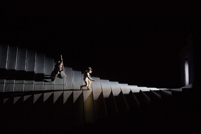"""This April 3, 2013 photo provided by the Metropolitan Opera shows a scene from the final dress rehearsal of Wagner's """"Das Rheingold,"""" at the Metropolitan Opera in New York. (AP Photo/Metropolitan Opera, Marty Sohl)"""