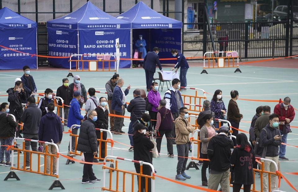 People queue up for Covid-19 testing at the Maple Street Playground in Sham Shui Po on Wednesday. Photo: Winson Wong