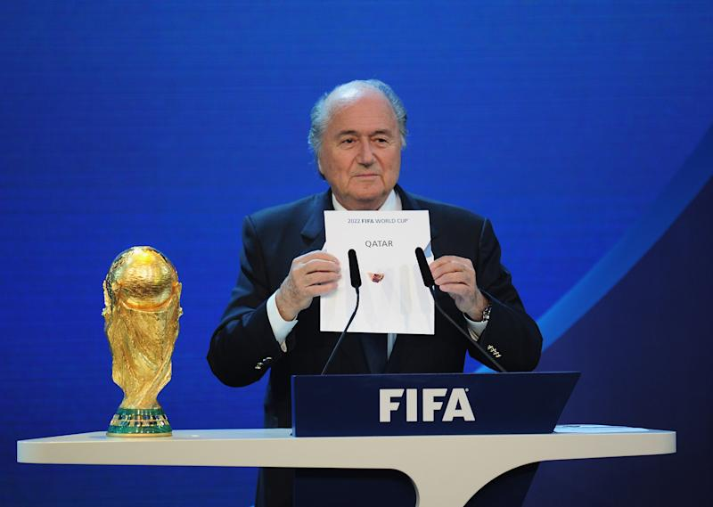 Then FIFA president Sepp Blatter reveals Qatar as World Cup hosts back in 2010. (Credit: Getty Images)