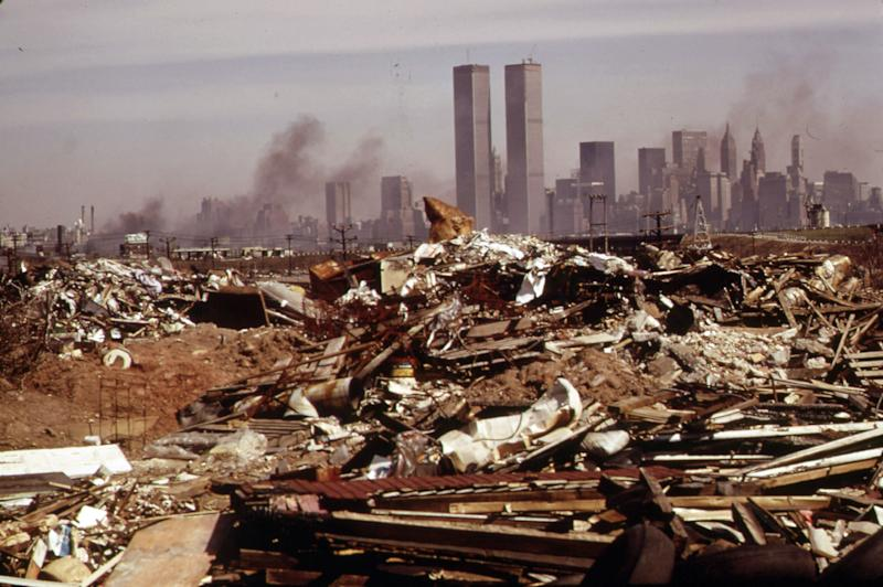 """This March 1973 photo released by the U.S. National Archives shows an illegal dumping area off the New Jersey Turnpike, facing Manhattan across the Hudson River, and north of the land fill area of the proposed Proposed Liberty State Park, N.J. This archival image was taken for the """"Documerica"""" program, begun in 1972 by the new Environmental Protection Agency, to document subjects of environmental concern. (AP Photo/U.S. National Archives, Gary Miller)"""