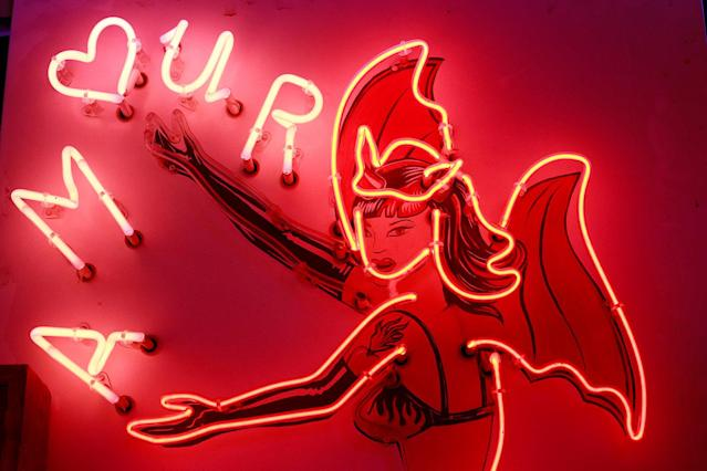 <p>A neon sign that reads 'Amour' (Love) forms part of an artwork exhibited in God's Own Junkyard gallery and cafe in London, Britain, May 13, 2017. (Photo: Russell Boyce/Reuters) </p>