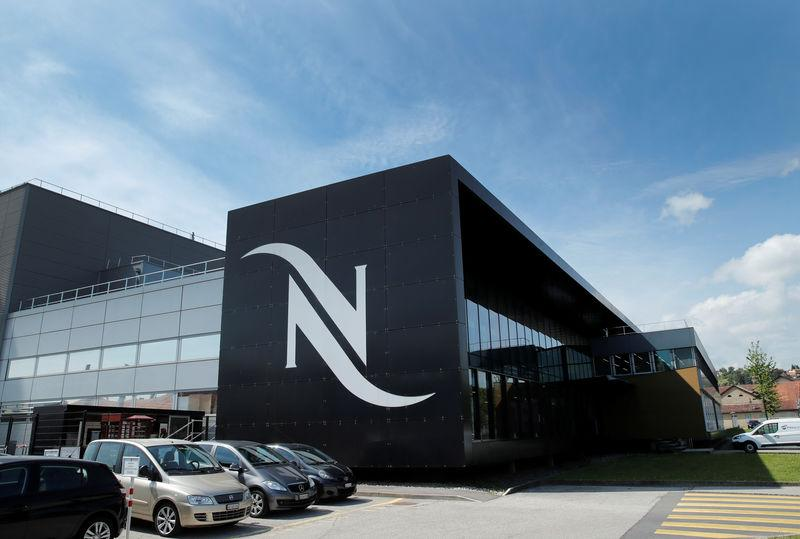 A Nespresso logo is pictured on a coffee factory at Nestle in Orbe