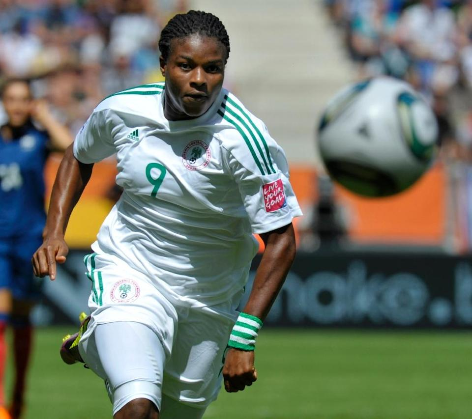 After going to every World Cup since 1991, Nigeria hope to finally bring the trophy home with a blend of young talent like Asisat Oshoala, Desire Oparanozie, pictured, and Francisca Ordega alongside experienced campaigners (AFP Photo/Thomas Kienzle)