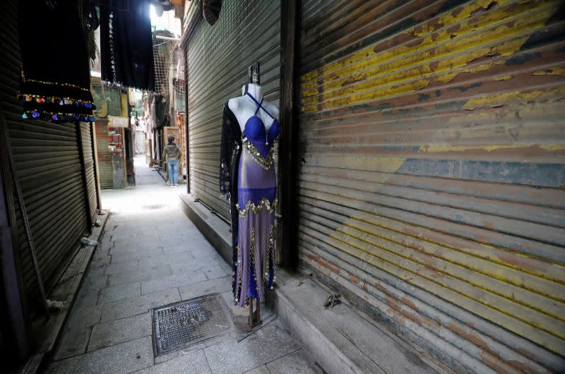 """Closed shops are seen at a popular tourist area named """"Khan el-Khalili"""" in the al-Hussein and Al-Azhar districts in Cairo"""