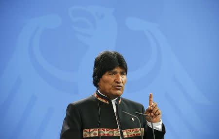 Bolivia's President Evo Morales addresses a news conference at the Chancellery in Berlin