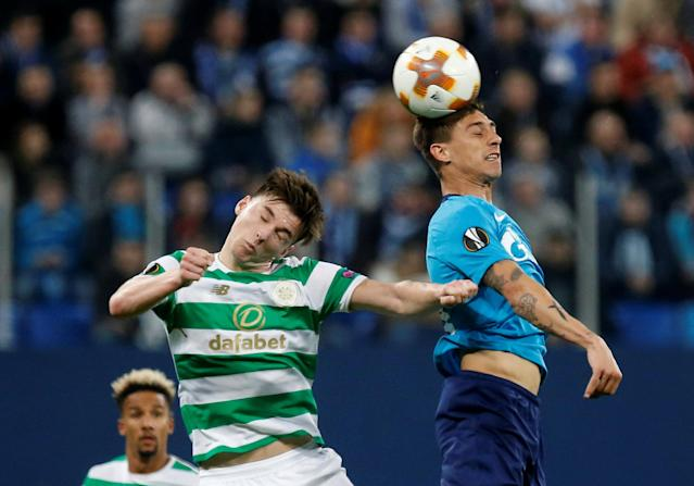 Soccer Football - Europa League Round of 32 Second Leg - Zenit Saint Petersburg vs Celtic - Stadium St. Petersburg, Saint Petersburg, Russia - February 22, 2018 Celtic's Kieran Tierney in action with Zenit St. Petersburg's Emiliano Rigoni REUTERS/Anton Vaganov