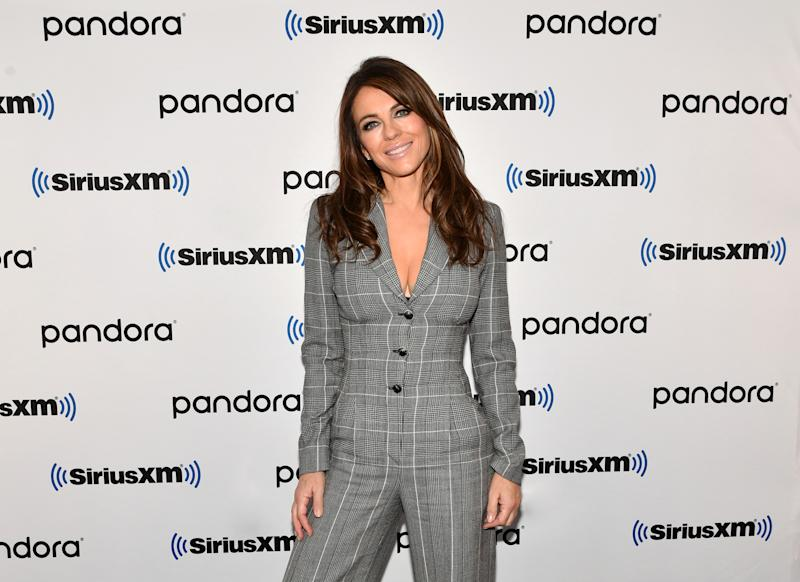 Elizabeth Hurley visits SiriusXM Studios on December 11, 2019 in New York City. (Photo by Slaven Vlasic/Getty Images)