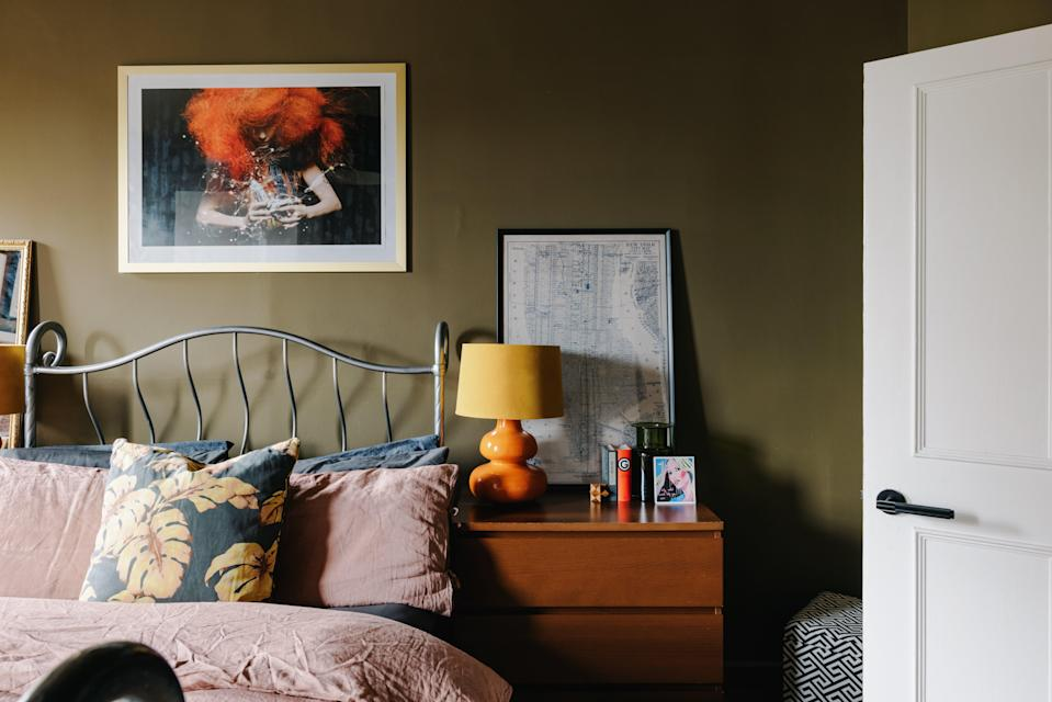 Strong accents: the master bedroom is designed around a Bjork print and features Abigail Ahern's Pickle walls (Mark Anthony Fox)