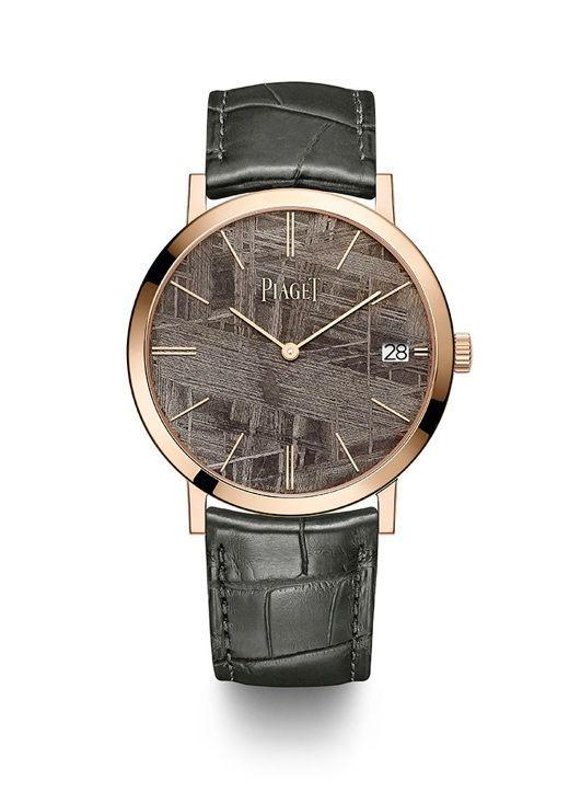 """<p>Altiplano Automatic 40mm with Meteorite Dial</p><p><a class=""""link rapid-noclick-resp"""" href=""""https://search.watches-of-switzerland.co.uk/search?w=piaget"""" rel=""""nofollow noopener"""" target=""""_blank"""" data-ylk=""""slk:SHOP"""">SHOP</a></p><p>Skinny watches are Piaget's calling card, performing particularly well for them, as well as being award-winning marvels of engineering in their own right. Upping the ante this year, the brand has added a thin layer of meteorite to two of its Altiplano models. Since each sliver of rock is slightly different, each watch is effectively unique. In a weird galactic trend alert it's not the only watch brand to incorporate meteorite in 2020, but we love what Piaget have done here: the combination of chic ultra-thinness and rugged stone dial really works. </p><p>£24,600; <a href=""""https://en.piaget.com/"""" rel=""""nofollow noopener"""" target=""""_blank"""" data-ylk=""""slk:en.piaget.com"""" class=""""link rapid-noclick-resp"""">en.piaget.com</a></p>"""