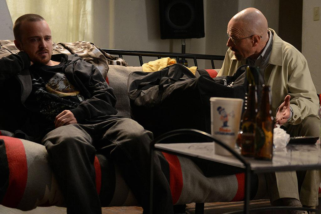 "Jesse Pinkman (Aaron Paul) and Walter White (Bryan Cranston) in the ""Breaking Bad"" Season 5 episode, ""The Decision."""