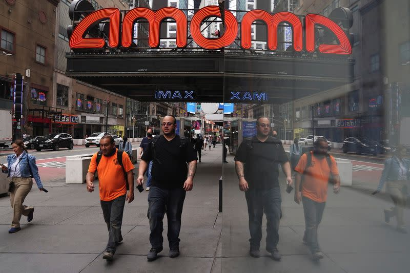 An AMC theatre is pictured in Times Square in New York City