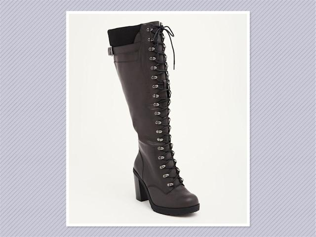 "<p>Sweater knit tall lace-up combat boots, $48, <a href=""http://www.torrid.com/product/sweater-knit-top-lace-up-combat-boots-wide-width-wide-calf/11078466.html?cgid=shoes-boots#start=38"" rel=""nofollow noopener"" target=""_blank"" data-ylk=""slk:Torrid"" class=""link rapid-noclick-resp"">Torrid</a> (Photo: Torrid) </p>"