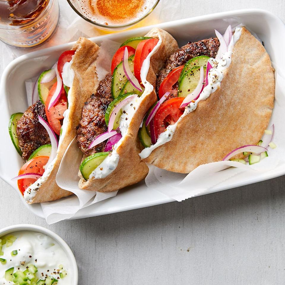 <p>These healthy burgers get a Mediterranean twist with a yogurt sauce seasoned with oregano, lemon and feta cheese. If you can't find ground lamb, ask the butcher to grind some for you.</p>