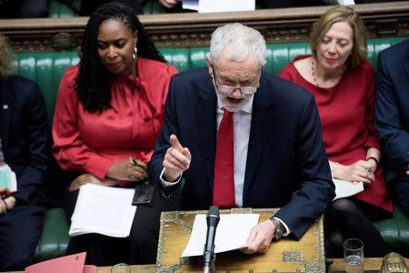 Jeremy Corbyn, Leader of the Labour Party, talks during a no confidence debate after Parliament rejected Theresa May's Brexit deal, in London, Britain, January 16, 2019. UK Parliament/Jessica Taylor/Handout via REUTERS