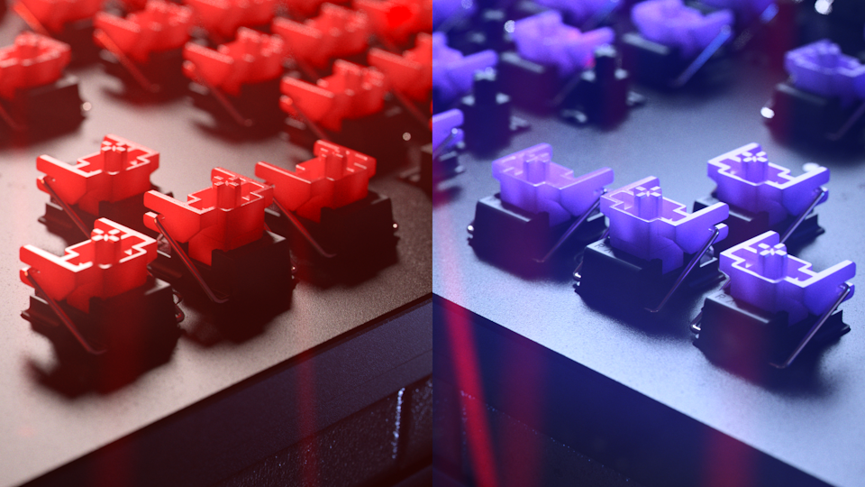 Red and purple key switches