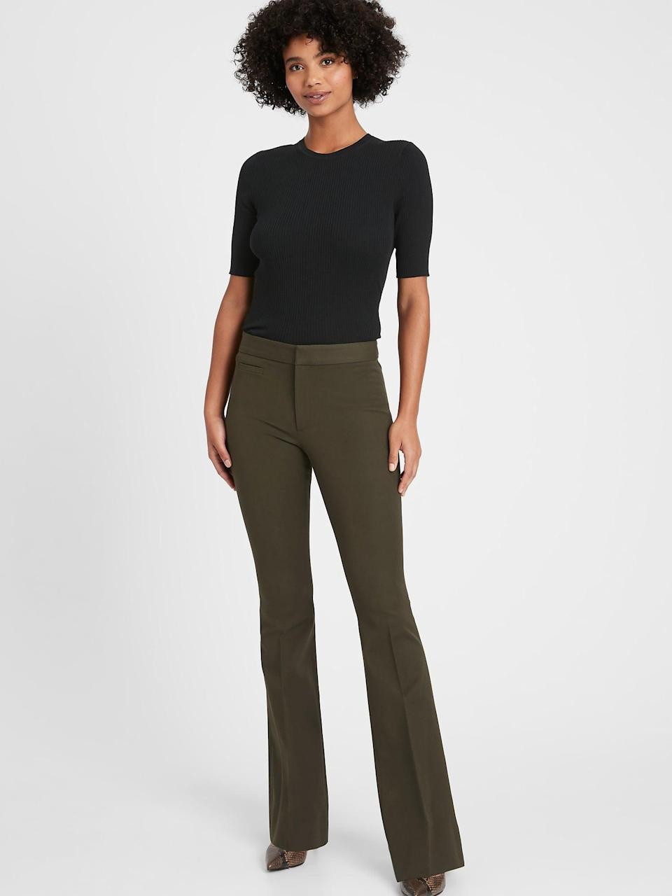 <p>We love the 70s flare of this <span>Banana Republic High-Rise Flare Sloan Pant</span> ($64, originally $99). Even better, they are an <i>additionally</i> 60 percent off!</p>