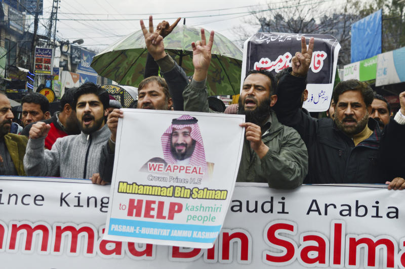 Pakistani Kashmiris rally to express solidarity with Indian Kashmiris on the occasion of the Saudi Crown Prince's visit to Pakistan, in Muzaffarabad, capital of Pakistani Kashmir, Monday, Feb. 18, 2019. They have rallied to denounce the recent killings by Indian forces in the disputed Himalayan region of Kashmir. (AP Photo/M.D. Mughal)