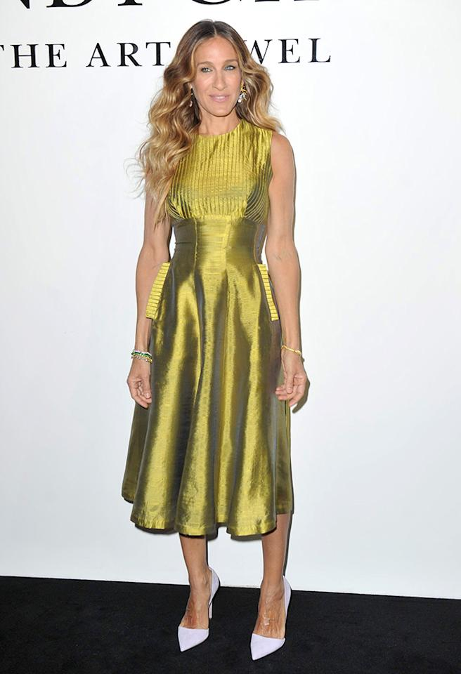 "We don't mind SJP's chartreuse Alexandra New York frock, but her jarring white pumps -- courtesy of Jean-Michel Cazabat -- are cringe-worthy. And would it kill the ""Sex and the City"" alum to do something with those lifeless, lioness-like locks? (4/7/2013)"