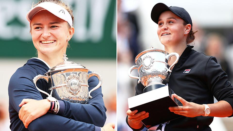 Pictured here, Barbora Krecjikova and Ash Barty hold their French Open trophies aloft.
