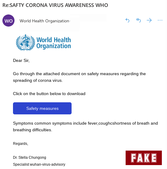 This is a copy of the fake coronavirus email currently going around. Source: Sophos Security Team via nakedsecurity