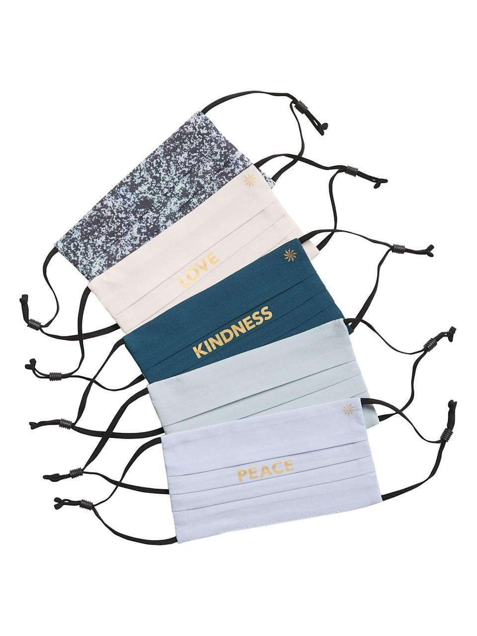 <p>Wish kindness, love, and peace to everyone in your family with this <span>Athleta Girl Holiday 5 Mask Pack</span> ($30).</p>