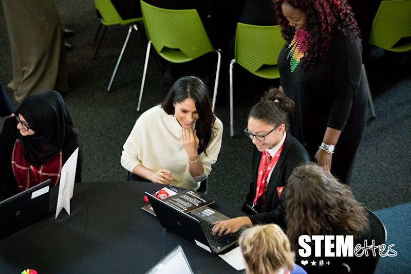 Meghan Markle attends a STEMettes event in 2018. Photo: Sam and Simon Photography