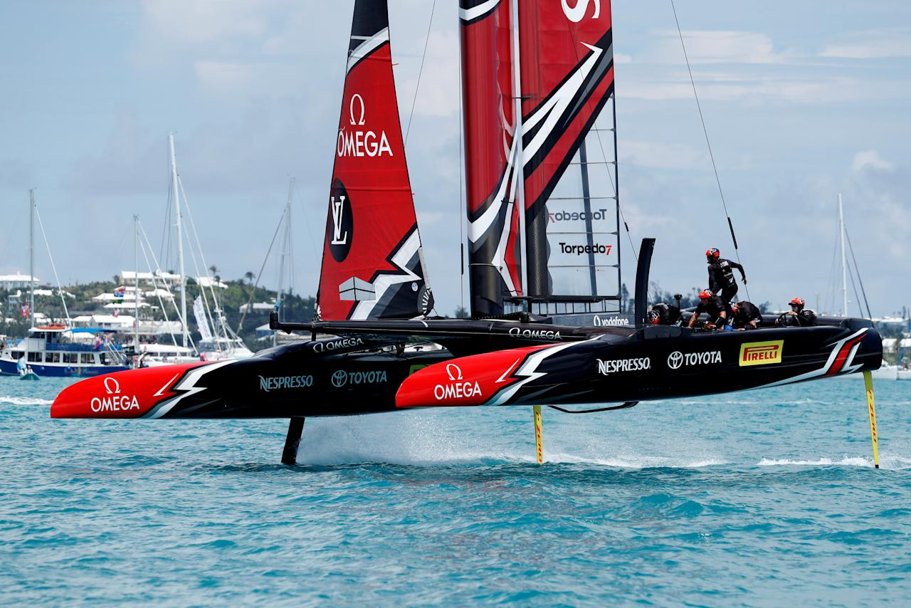 Sailing - America's Cup finals - Peter Burling, Emirates Team New Zealand Helmsman takes his team and boat to the finish line to defeat Oracle Team USA in race nine to win the America's Cup. REUTERS/Mike Segar