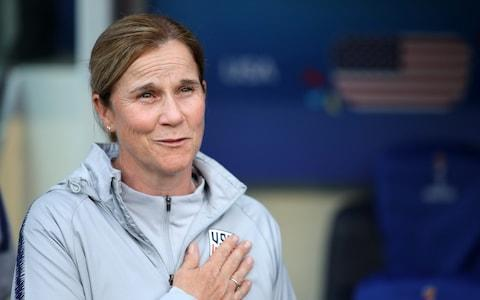 Jill with her hand on her USA badge - Credit: Getty