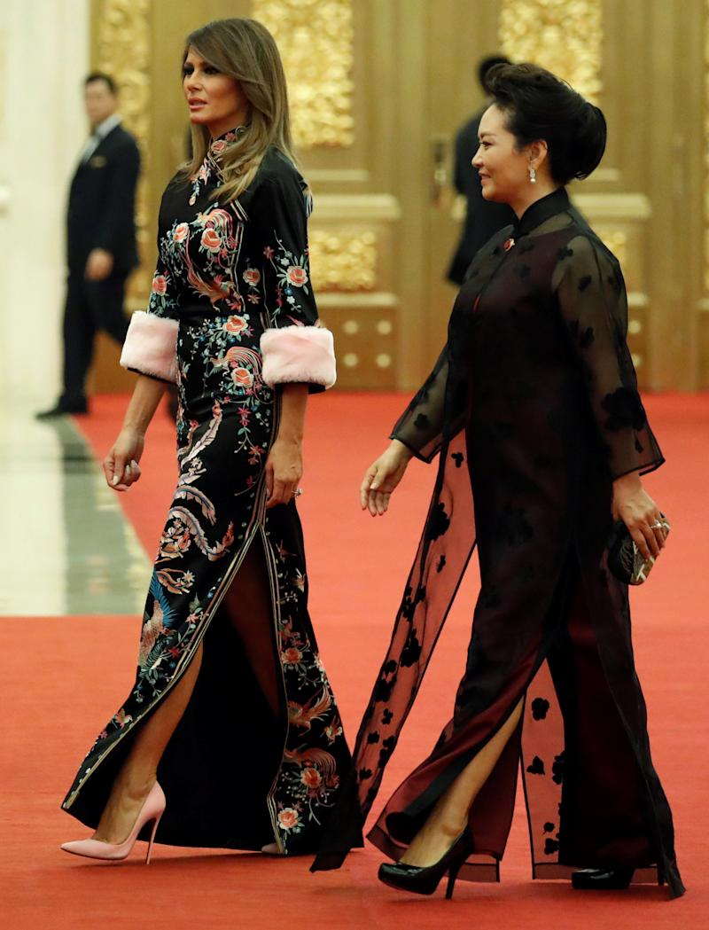 First Lady Melania Trump in a Qipao inspired dress