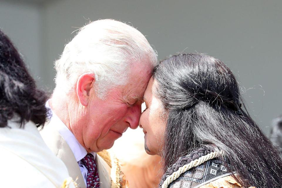 <p>Prince Charles receiving a traditional greeting.</p>