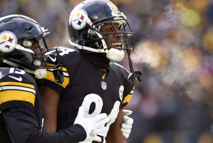 Antonio Brown has apologized for taking a video during Mike Tomlin's postgame speech. (AP)