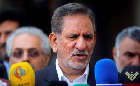 FILE PHOTO: Iranian Vice President Jahangiri speaks during a news conference after a meeting with Iraq's top Shi'ite cleric in Najaf