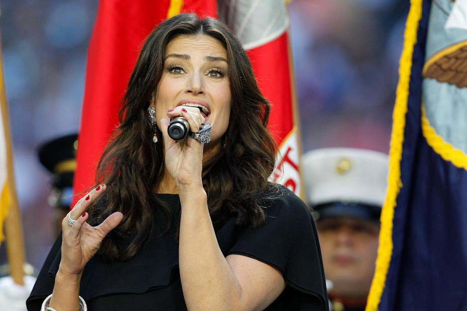 Idina Menzel sings the National Anthem at the Super Bowl. The New England Patriots plays against the Seattle Seahawks Sunday, Feb. 1, 2015.