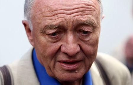 Former London mayor Ken Livingstone speaks to the media after appearing on the LBC radio station in London