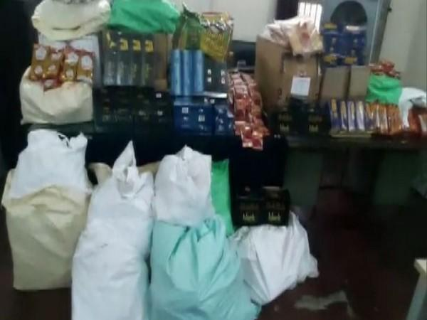 A view of seized gutka and other toabacco products in Hyderabad. (Photo/ANI)