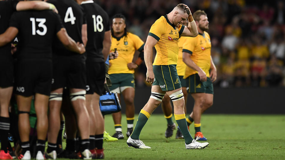 Wallabies star Lachie Swinton walks off the field after being sent off during the fourth 2020 Tri-Nations. (Photo by Albert Perez/Getty Images)