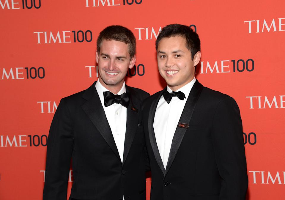 SnapChat founders Evan Spiegel and Bobby Murphy arrive at 2014 TIME 100 Gala held at Frederick P. Rose Hall, Jazz at Lincoln Center on Tuesday, April 29, 2014, in New York. (Photo by Evan Agostini/Invision/AP)