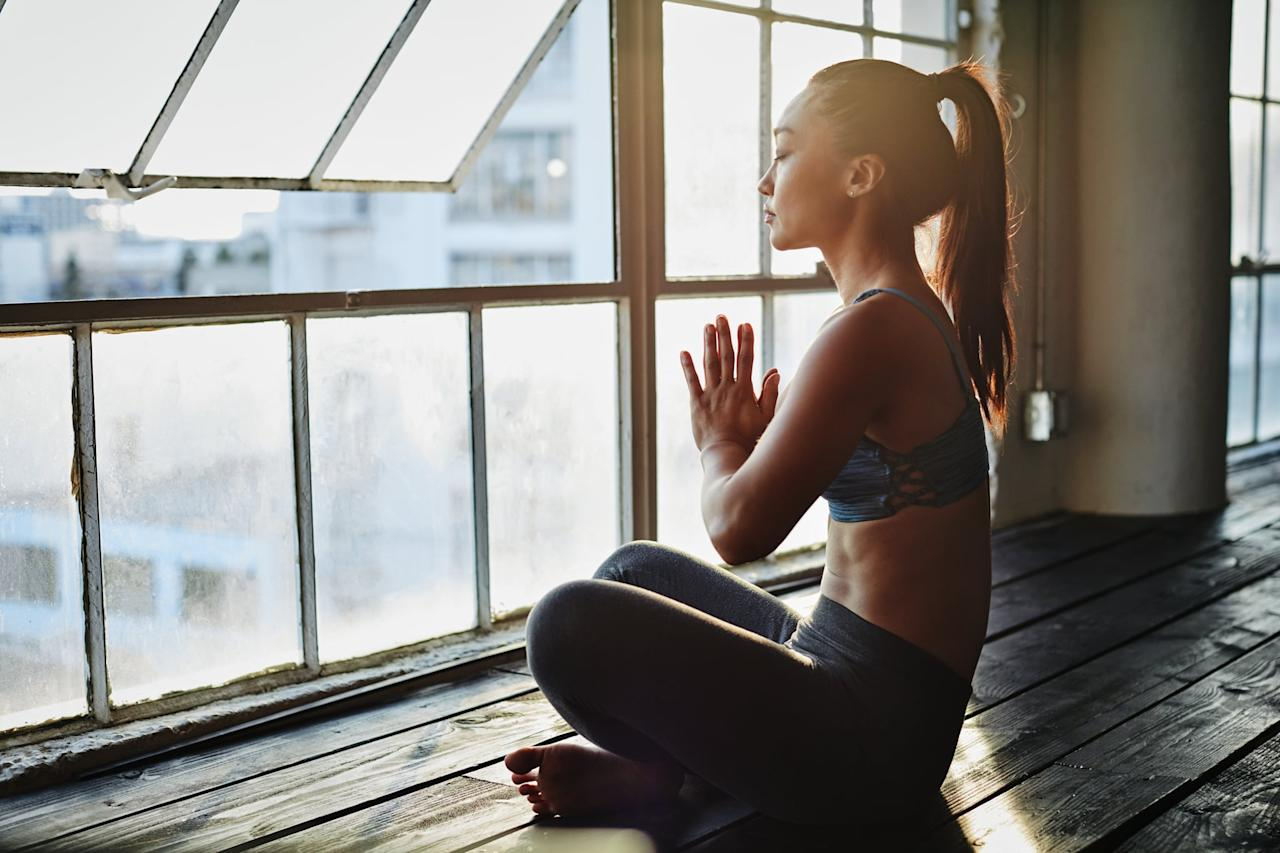"""<p>""""<a href=""""https://www.popsugar.com/fitness/Mindfulness-Same-Meditation-46068161"""" class=""""ga-track"""" data-ga-category=""""Related"""" data-ga-label=""""https://www.popsugar.com/fitness/Mindfulness-Same-Meditation-46068161"""" data-ga-action=""""In-Line Links"""">Mindfulness meditation</a> can help you detach from your thoughts and connect to the present moment,"""" <a href=""""https://drsharone.com/"""" target=""""_blank"""" class=""""ga-track"""" data-ga-category=""""Related"""" data-ga-label=""""https://drsharone.com/"""" data-ga-action=""""In-Line Links"""">Sharone Weltfreid</a>, PhD, a licensed clinical psychologist, told POPSUGAR. """"With repeated practice, mindfulness meditation can help you gain insight into the workings of the mind and increase your ability to be present."""" If you're not sure where to start, Dr. Weltfreid recommends trying guided meditations using <a href=""""https://www.popsugar.com/fitness/Best-Mindfulness-Apps-45463044"""" class=""""ga-track"""" data-ga-category=""""Related"""" data-ga-label=""""https://www.popsugar.com/fitness/Best-Mindfulness-Apps-45463044"""" data-ga-action=""""In-Line Links"""">apps like Headspace</a> and Calm, which can help you learn the basics and slowly build on your practice.</p>"""