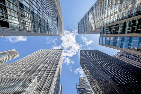 Skyscrapers from ground view