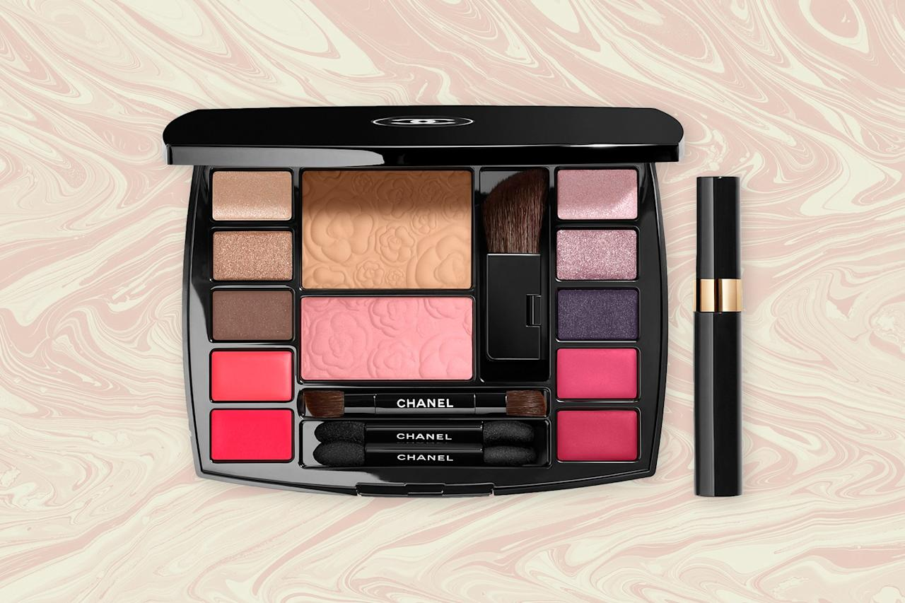 "<p>This Chanel palette is a one-stop product for achieving a great holiday look on the go. It covers the face, eyes, and lips in a versatile range of shades. The compact includes a mirror, four deluxe brushes and a travel mascara for easy application. With so many shimmering and matte colors to choose from, you can create endless day- and night-time looks. Plus, the small size of the compact makes it  easy to travel with—it fits into almost any handbag.</p> <p><strong>Buy Now:</strong> $95, <a href=""https://fave.co/34GkyDL"" rel=""nofollow"" target=""_blank"">chanel.com</a></p>"