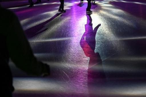 The skating rink, installed by Swiss company Glice, is made of a high-density polymer whose chemical characteristics make it almost indistinguishable from ice