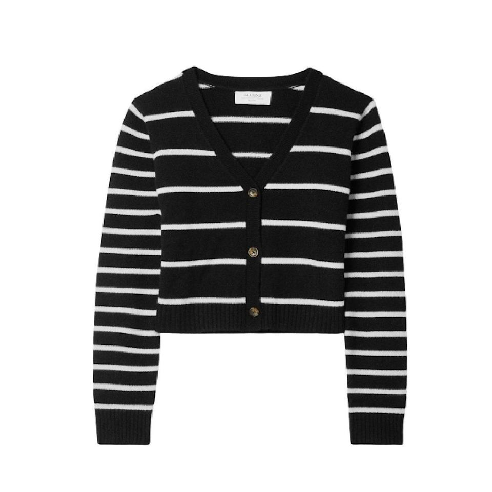 """Trust us on this: A Breton stripe <a href=""""https://www.glamour.com/gallery/best-fall-sweaters?mbid=synd_yahoo_rss"""" rel=""""nofollow noopener"""" target=""""_blank"""" data-ylk=""""slk:cardigan"""" class=""""link rapid-noclick-resp"""">cardigan</a> is a no-fail gift option she'll use all season long. $296, Net-a-Porter. <a href=""""https://www.net-a-porter.com/en-us/shop/product/la-ligne/clothing/cardigans/striped-cashmere-cardigan/11452292646758214"""" rel=""""nofollow noopener"""" target=""""_blank"""" data-ylk=""""slk:Get it now!"""" class=""""link rapid-noclick-resp"""">Get it now!</a>"""