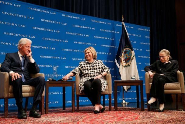 PHOTO: Former President Bill Clinton, left, former Secretary of State Hillary Clinton, and Supreme Court Justice Ruth Bader Ginsberg take their seats to speak, Oct. 30, 2019, at Georgetown Law's second annual Ruth Bader Ginsburg Lecture, in Washington. (Jacquelyn Martin/AP)