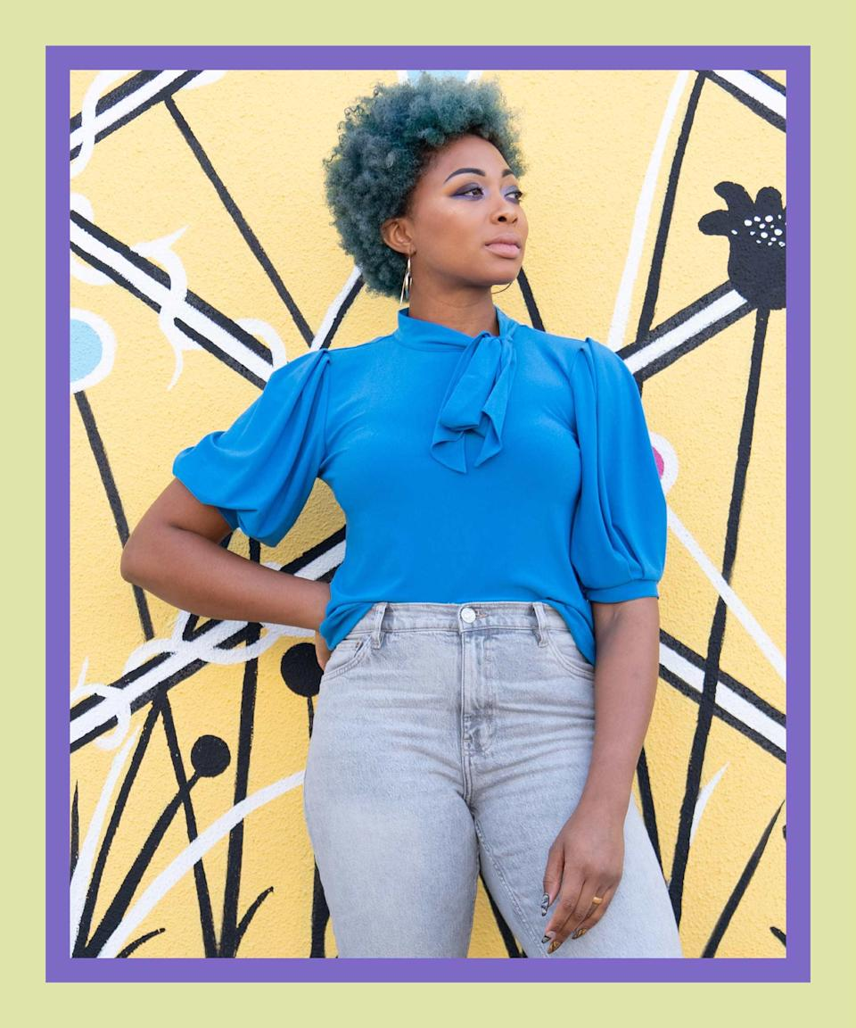 """Matching your puff-sleeve top to your hair? A major flex. Add a pair of hot pink braided mules, and you've got a color combo that's just climbed to the top of our """"Outfit Ideas"""" list."""