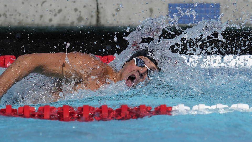 FILE - In this April 9, 2021, file photo, Ryan Lochte competes in the men's 200-meter final at the TYR Pro Swim Series swim meet in Mission Viejo, Calif. Lochte, the swimmer who embarrassed himself and the U.S. five years ago in Rio de Janeiro, is seeking to make a record-tying Olympic team. (AP Photo/Ashley Landis, Fole)