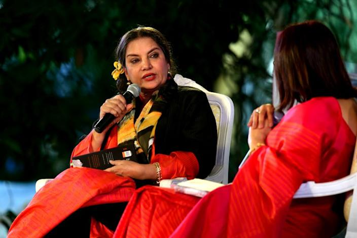 Bollywood actor Shabana Azmi in conversation with writer Rakhshanda Jalil during For Abba, With Love session at the third day of ZEE Jaipur Literature Festival 2019, at Diggi Palace, on January 26, 2019 in Jaipur, India.
