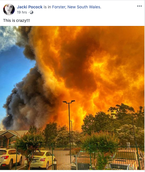 Fires in Forster on Thursday afternoon. Source: Jacki Pocock / Facebook
