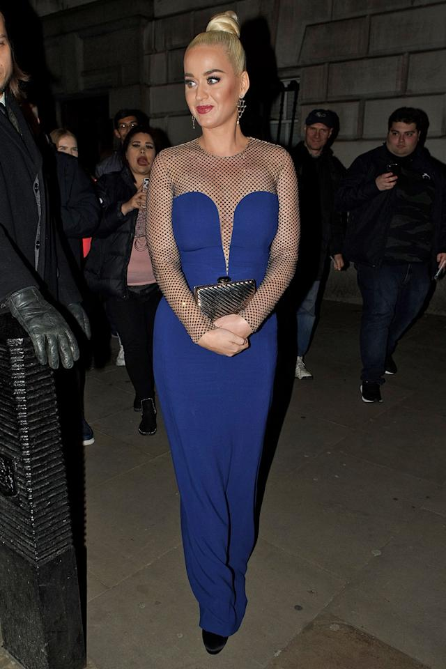 <p>Perry used her clutch at the British Asian Trust Gala dinner on Feb. 4 to keep her bump from being seen.</p>